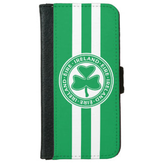 Ireland Éire Shamrock Green and White Wallet Phone Case For iPhone 6/6s