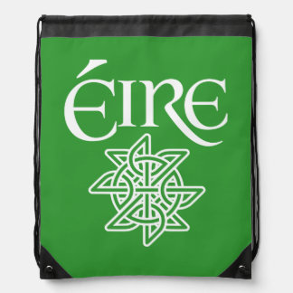 Ireland Éire Text with Decorative Celtic Knot Drawstring Backpack