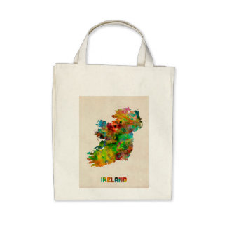 Ireland Eire Watercolor Map Bag