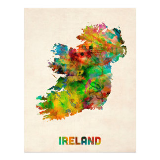 Ireland Eire Watercolor Map Flyer