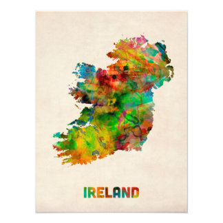 Ireland Eire Watercolor Map Photographic Print