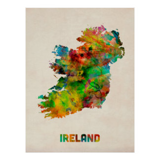 Ireland Eire Watercolor Map Poster
