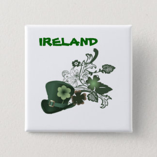 Ireland Elegant Shamrock Hat Pinback Button