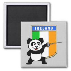 Square Magnet with Irish Fencing Panda design