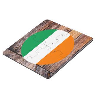 Ireland flag circle on wood background puzzle coaster