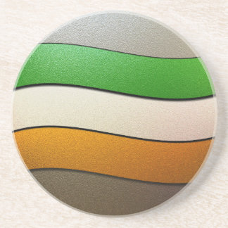Ireland Flag Colors-Chrome by Shirley Taylor Drink Coaster