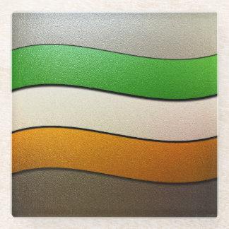 Ireland Flag Colors-Chrome Glass Coaster