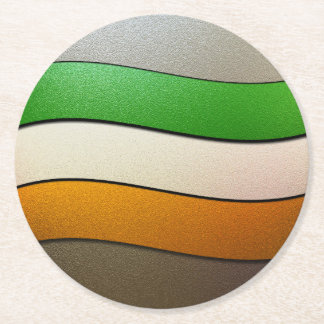 Ireland Flag Colors-Chrome Round Paper Coaster