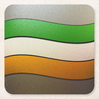 Ireland Flag Colors-Chrome Square Paper Coaster
