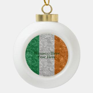 Ireland Flag - Crinkled Ceramic Ball Christmas Ornament
