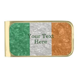 Ireland Flag - Crinkled Gold Finish Money Clip