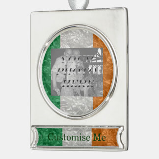 Ireland Flag - Crinkled Silver Plated Banner Ornament