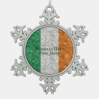 Ireland Flag - Crinkled Snowflake Pewter Christmas Ornament
