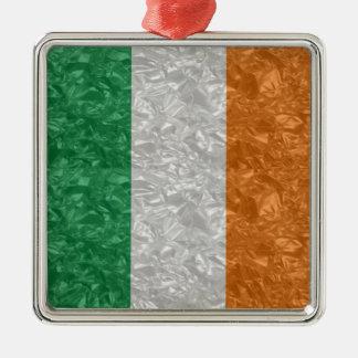 Ireland Flag - Crinkled Square Metal Christmas Ornament