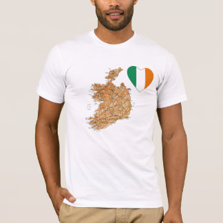 Ireland Flag Heart and Map T-Shirt