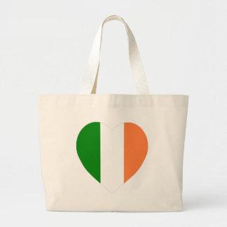 Ireland Flag Heart Canvas Bags