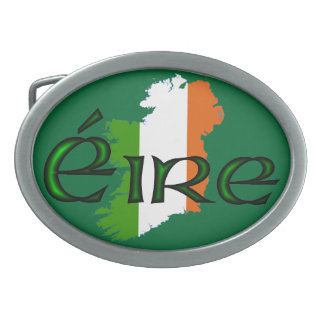 Ireland Flag Map by Kenneth Yoncich Oval Belt Buckle