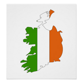 Ireland Flag Map full size Poster