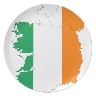 Ireland Flag Map Melamine Plate
