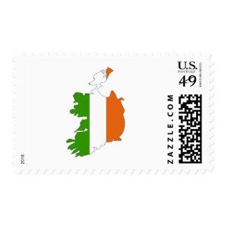 Ireland flag map postage