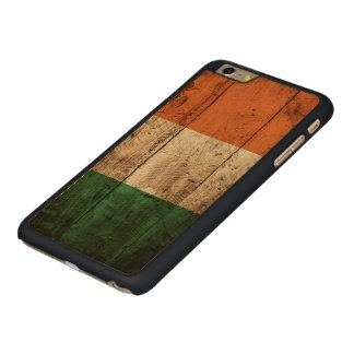 Ireland Flag on Old Wood Grain Carved Maple iPhone 6 Plus Case