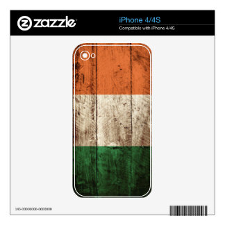 Ireland Flag on Old Wood Grain Decals For iPhone 4S