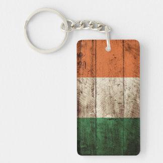 Ireland Flag on Old Wood Grain Keychain