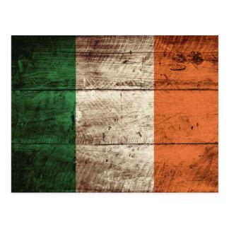 Ireland Flag on Old Wood Grain Postcard