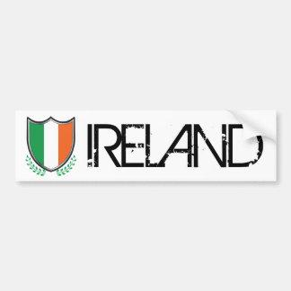 Ireland Flag Shield w/ Laurels Bumper Sticker Car Bumper Sticker