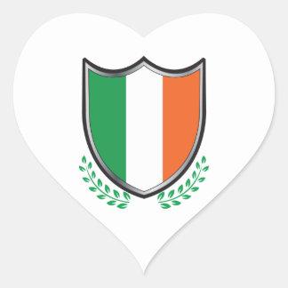 Ireland Flag Shield w/ Laurels Heart Sticker