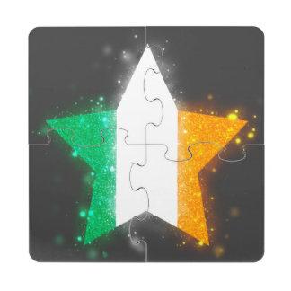 Ireland Flag Shining Puzzle Coaster