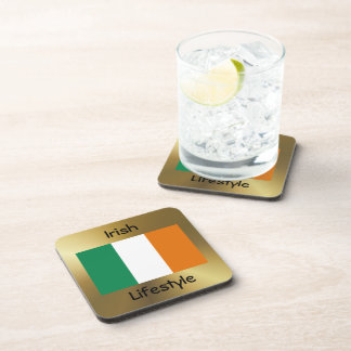 Ireland Flag+Text Coaster