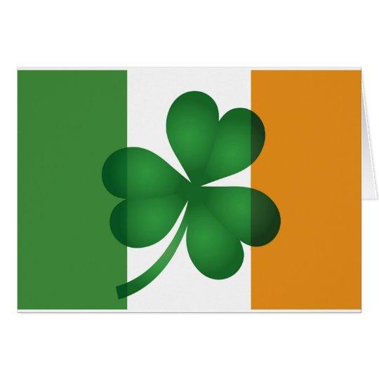 Ireland Flag with Shamrock Card