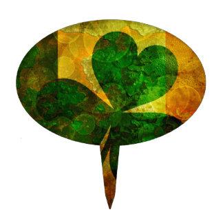 Ireland Flag with Shamrock Grunge Background Illus Cake Topper