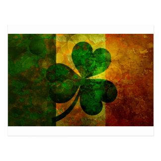Ireland Flag with Shamrock Grunge Background Illus Postcard