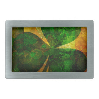 Ireland Flag with Shamrock Grunge Background Illus Rectangular Belt Buckle