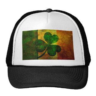 Ireland Flag with Shamrock Grunge Background Illus Trucker Hat