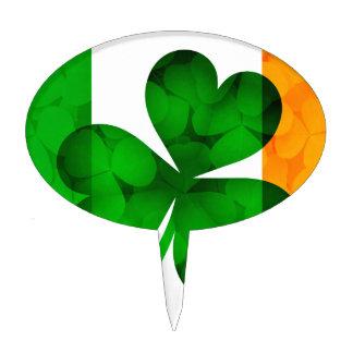Ireland Flag with Shamrock Leaves Background Illus Cake Topper