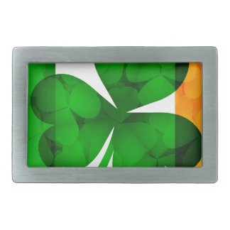 Ireland Flag with Shamrock Leaves Background Illus Rectangular Belt Buckle