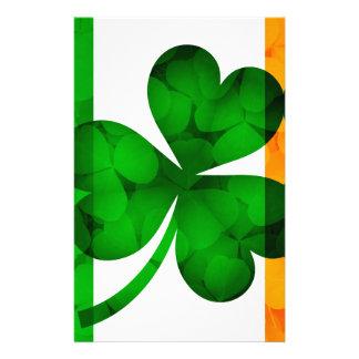 Ireland Flag with Shamrock Leaves Background Illus Stationery