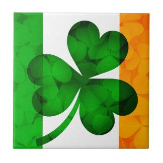Ireland Flag with Shamrock Leaves Background Illus Tile