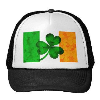 Ireland Flag with Shamrock Leaves Background Illus Trucker Hat