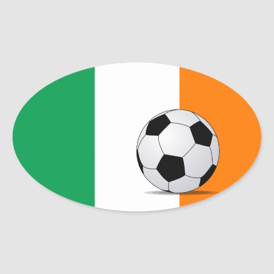 Ireland Flag with Soccer Ball Oval Sticker