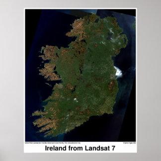 Ireland from Landsat 7 Posters