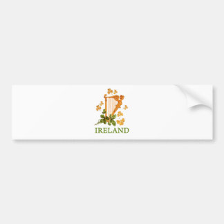 Ireland - Gold Irish Harp Bumper Sticker
