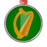 ireland green harp flag irish metal ornament