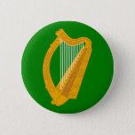ireland green harp flag irish pinback button