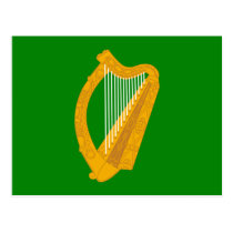 ireland green harp flag irish postcard
