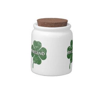 Ireland Grunge Clover Candy Jar