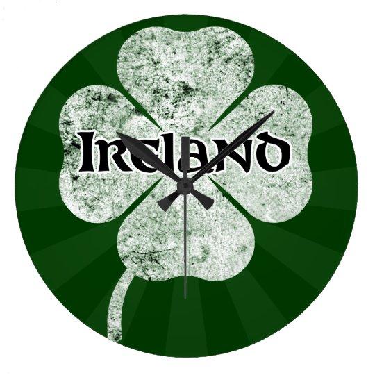 Ireland Grunge Clover Wall Clock (light)